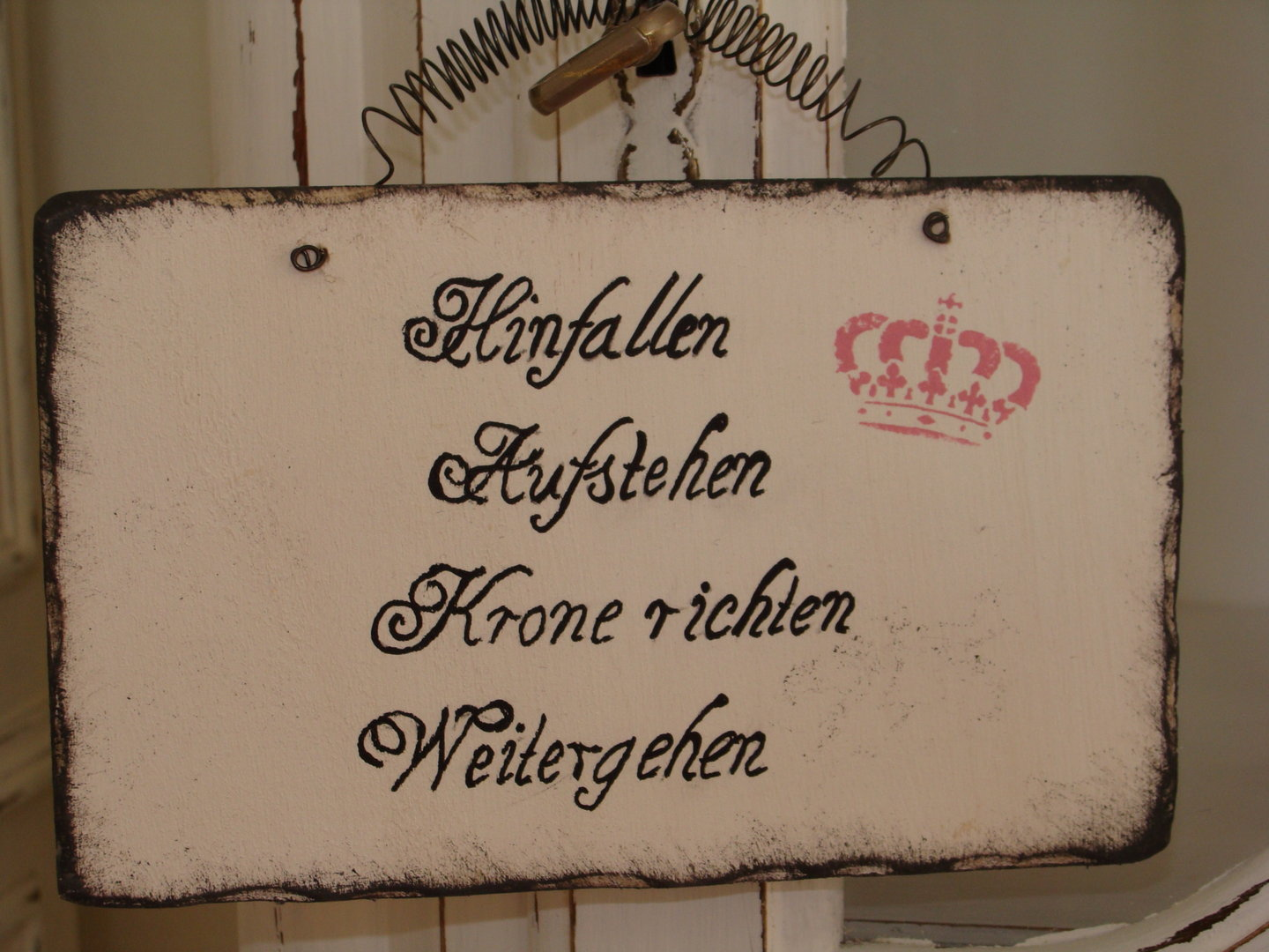 schild spruch hinfallen aufstehen shabby chic galerissimo. Black Bedroom Furniture Sets. Home Design Ideas